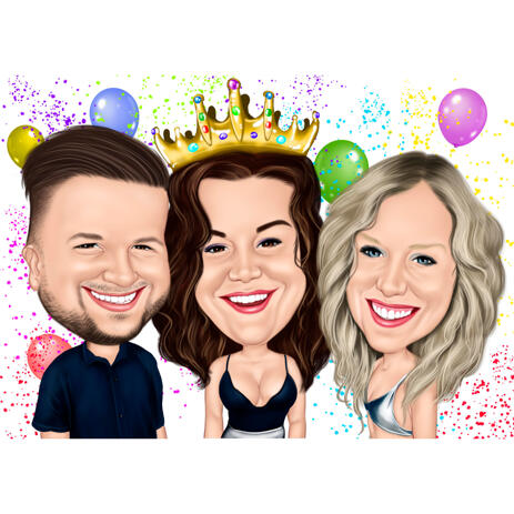 Funny Exaggerated Group Friends Caricature for Gift - Birthday Person with Crown - example
