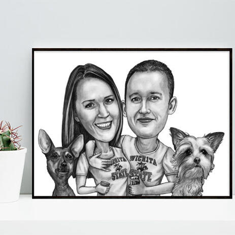 Couple with Pets Caricature on Poster - example