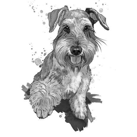Grafite Fox Terrier Retrato de corpo inteiro de fotos em estilo aquarela - example
