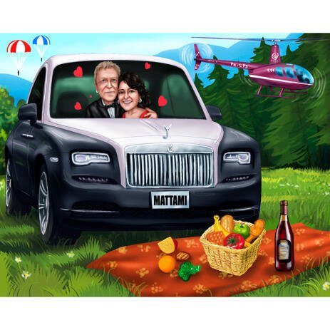 Custom Picnic Couple Caricature from Photos for Camping Holiday Cartoon Gift - example