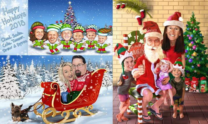 Family Christmas Caricature large example