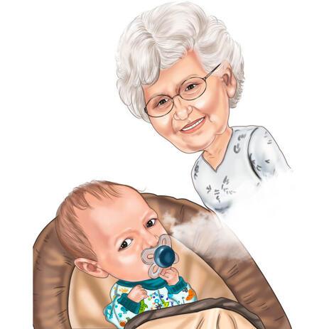 Kundenspezifische Großmutter mit Großmutter-Baby-Karikatur im Farbstil für Oma-Geschenk - example