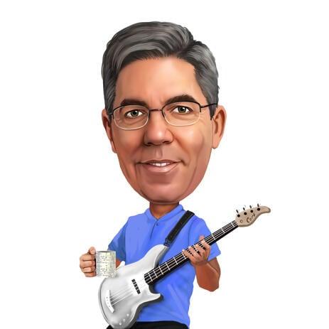 Карикатура человека с гитарой нарисованная с фотографии. - example