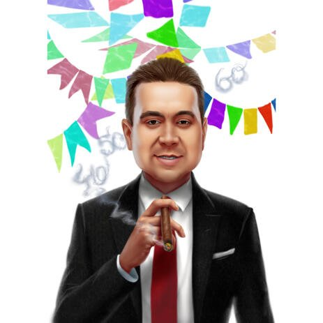 Colored Digital Style Birthday Gift Idea - Cartoon Portrait for Boss from Photos - example