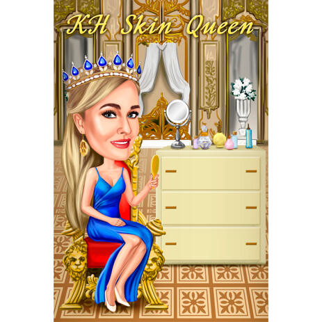 Personalized Beautician Cosmetology Cartoon Drawing Gift from Photos with Custom Background - example
