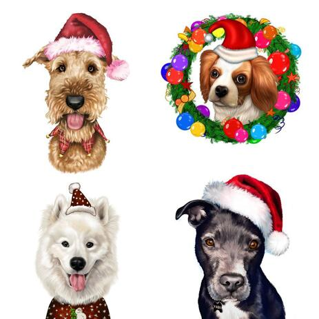 Christmas Dogs Caricature Portrait in Color Style - example