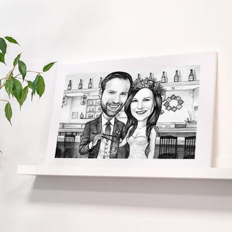 Hand-Drawn Bride and Groom Portrait Printed on Poster - example