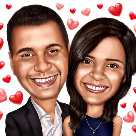 Valentines Day Couple Caricature with Heart Background - example