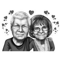 Söt äldre par karikatyr i svartvitt stil från foton