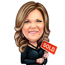 Head and Shoulders Realtor Caricature from Photos