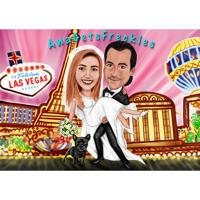 لاس فيغاس زفاف زوجين كاريكاتير الكرتون الملونة في كامل الجسم