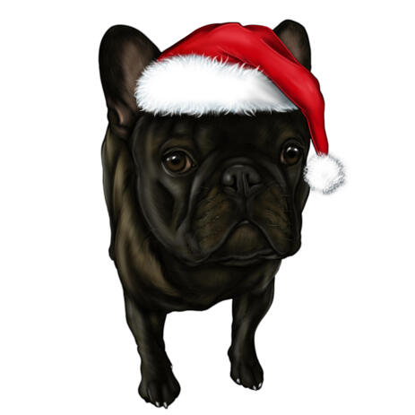 Christmas Dog with Paws Caricature in Santa Hat - example
