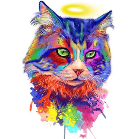 Cat Memorial Portrait with Halo from Photos - example