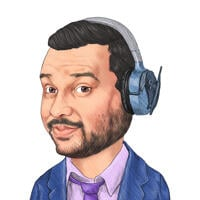 Person in Headphones Colored Caricature Hand Drawn from Photo