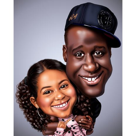 Exaggerated Father and Daughter Caricature from Photos - example