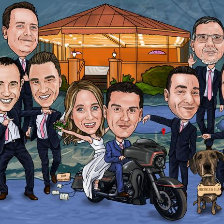 Bride with Groom and Groomsmen Caricature Drawing - example