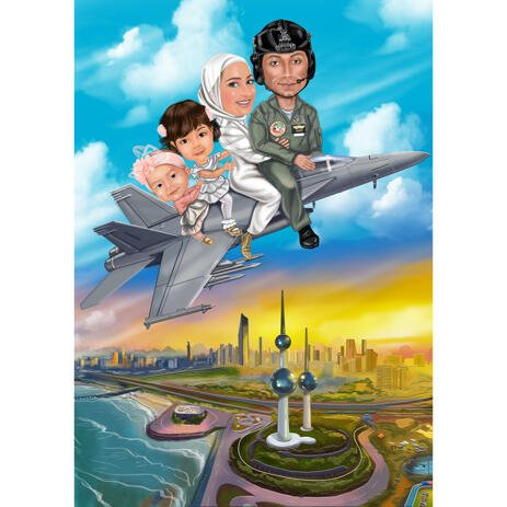 Family on Air Plane Military Caricature Drawing with City Background - example