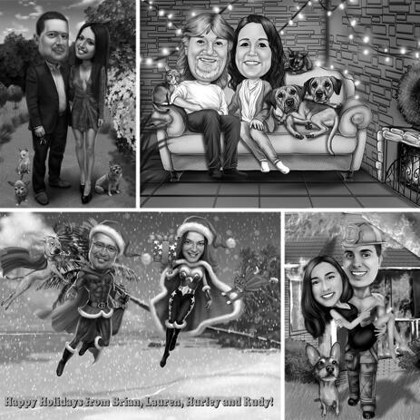 Черно-белая карикатура пары с домашними животными с индивидуальным фоном - example