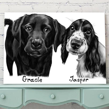 Dogs Portrait on Printed Canvas - example
