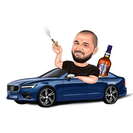Custom Male Car Lover Caricature with Whiskey and Cigar for Fun Gift - example