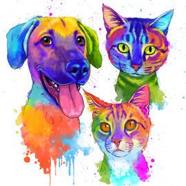 Mixed Pets Watercolor Style Drawing
