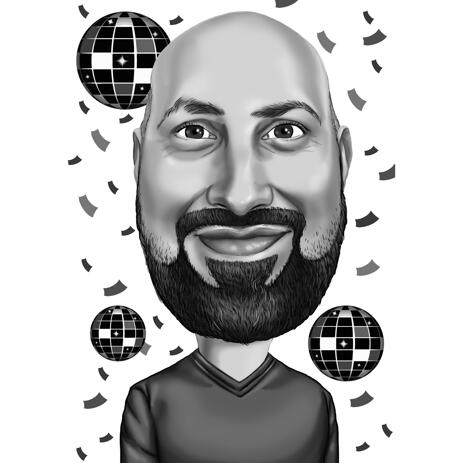 Black and White Party Caricature from Photos - example
