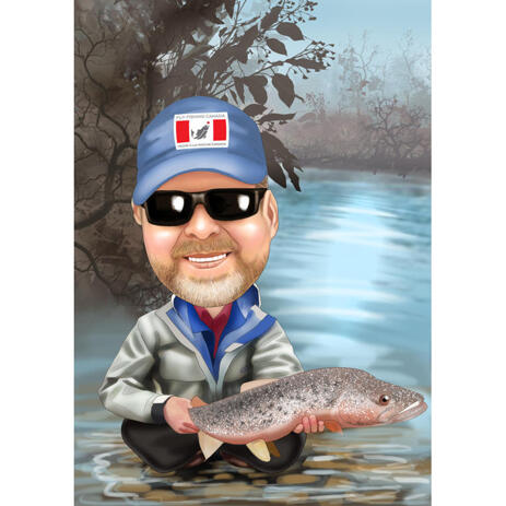 Custom Fishing Caricature from Photos with Background - example