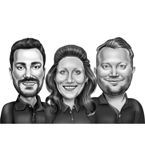 Three People Caricature in Black and White Funny Exaggerated Style from Photos - example