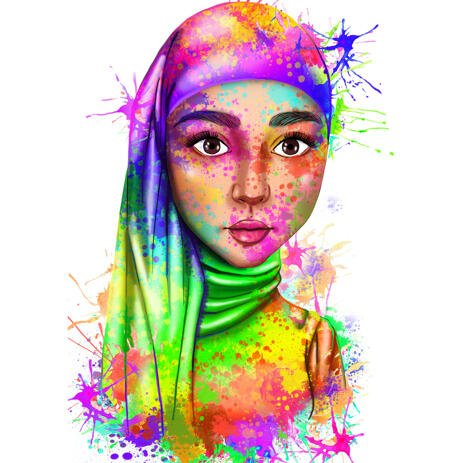 Custom Rainbow Human Portrait from Photos with Watercolor Style Splashes - example