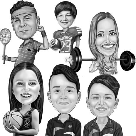 Any Sport Caricature from Photos in Black and White Style - example