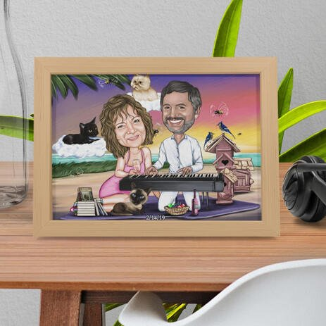 Custom Caricature of Couple with Pets in Color Style as Photo Paper Print - example
