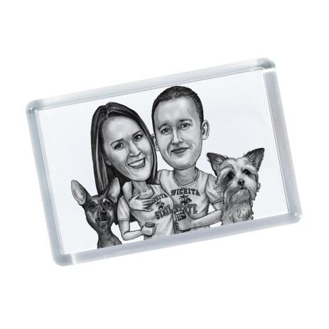 Group Pets Caricature on Magnets - example
