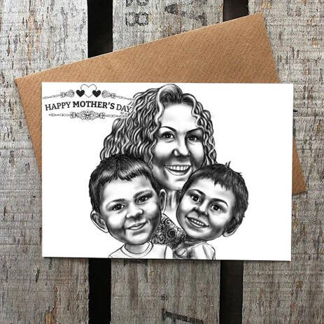 Print on Photo Paper: Custom Group Cartoon Drawing for Mother's Day Gift - example