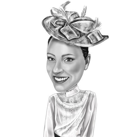 Lady Hand Drawn Original Caricature Artwork in Black and White Romantic Style - example
