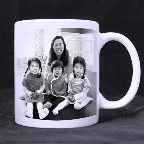 Family with Kids Caricature as Mug - example