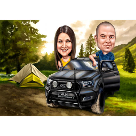 Camping Holidays Trip Couple Fun-Loving Caricature with Custom Background from Photos - example