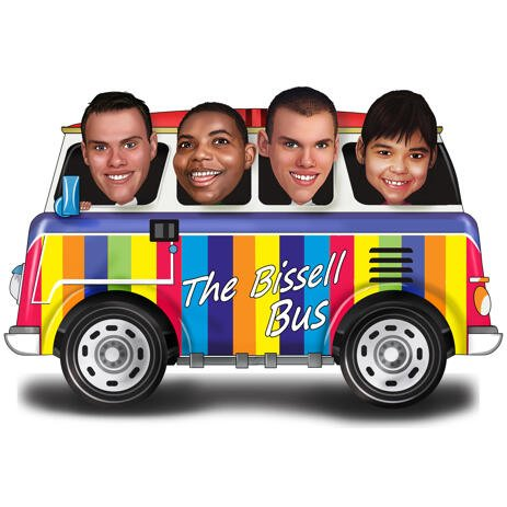 Карикатура группы людей в автобусе нарисованных до плеч с фотографии - example