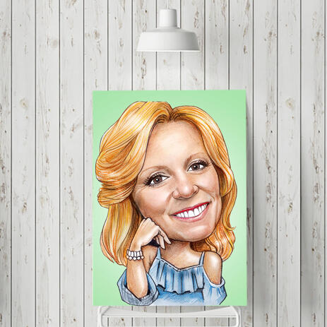 Caricature Print on Canvas: Personalized Cartoon Drawing from Photo in Colored  Digital Style - example