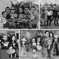 Full Body Cartoon from Photos with Background in Black and White Style