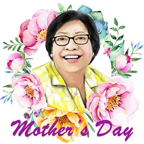 Custom Mom's Portrait Drawing from Photo in Wreath of Flowers - example