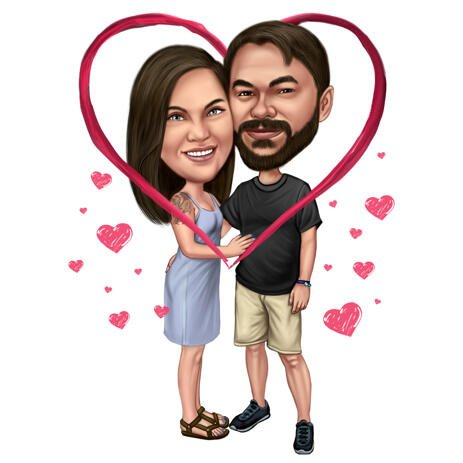 Love Heart Personalized Valentines Day Full Body Caricature Couple Gift from Photos - example