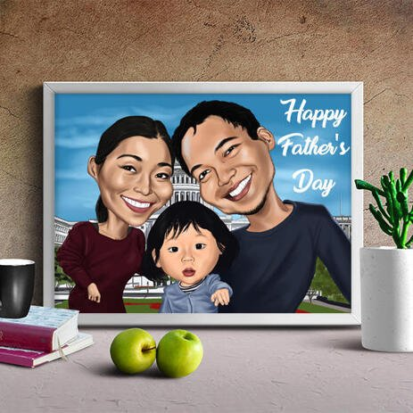 Photo Print: Digital Family Group Cartoon Drawing - example