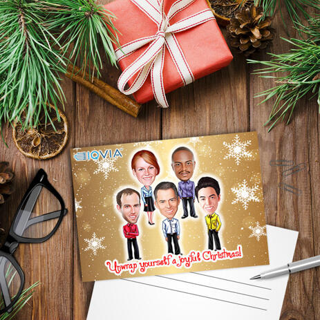 Employees Caricature Gift from Photos with Company Logo for Christmas - Set of 10 Cards - example
