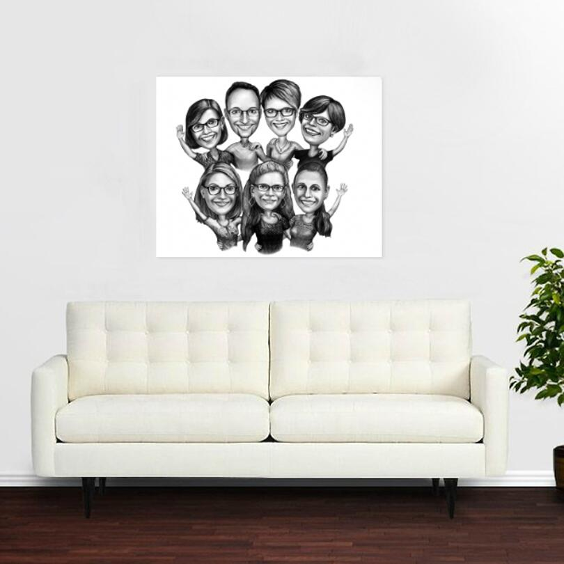 Custom Stretched Canvas Print: Group Cartoon Drawing in Pencil Style