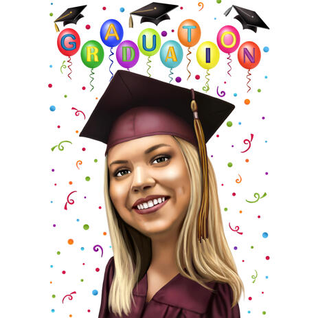 Graduation Cartoon Portrait Gift from Photos in Color Style - example