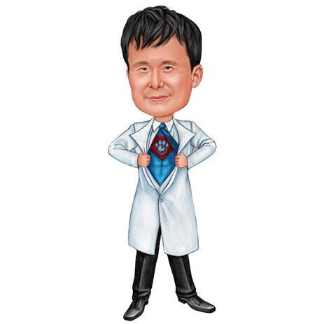 Full Body Vet Doctor Caricature on White Background - example