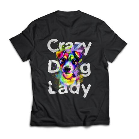Limitovaná edice: Crazy Dog Lady T-shirt s Custom Dog Watercolor Portrait - example