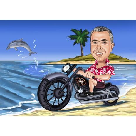 Motorrijder karikatuur met gekleurde achtergrond - example