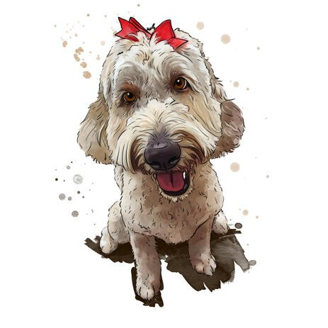 Watercolor Natural Goldendoodle Portrait Cartoon Art in Full Body from Photos - example
