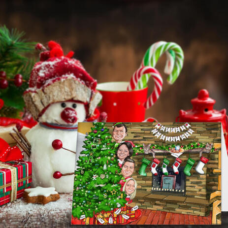 Family with Christmas Tree in Colored Style from Photos - Set of 10 Caricature Cards - example